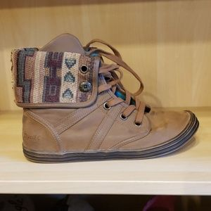 Blowfish faux suade fold over Aztec bootie